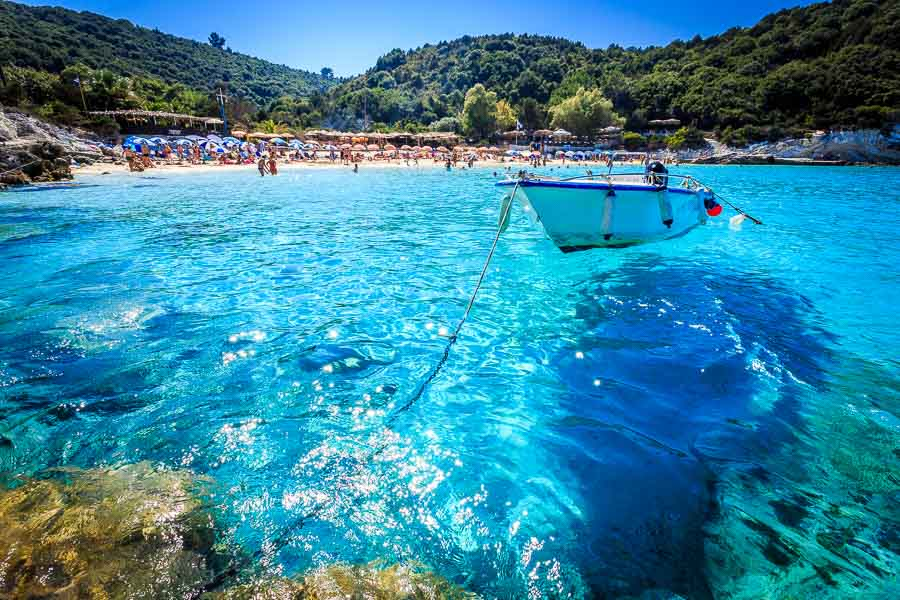This is a picture of lovely Vrika Beach on the stunning island of Antipaxos in Greece. Paxos Travel Guide by Rick McEvoy