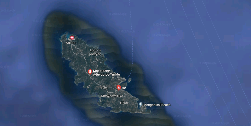 Location of petrol stations on Paxos