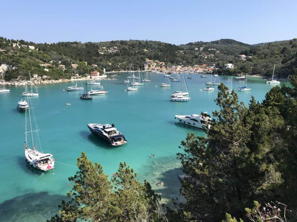 The view of Lakka harbour and all the boats