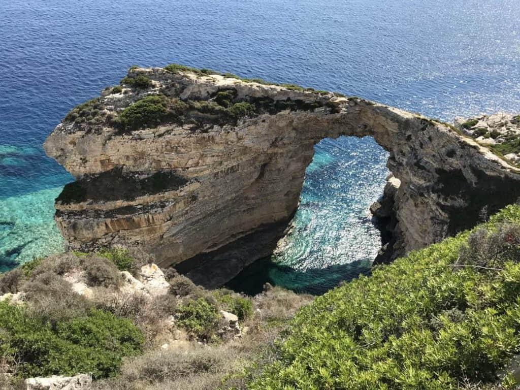 The Tripitos Arch from the path above