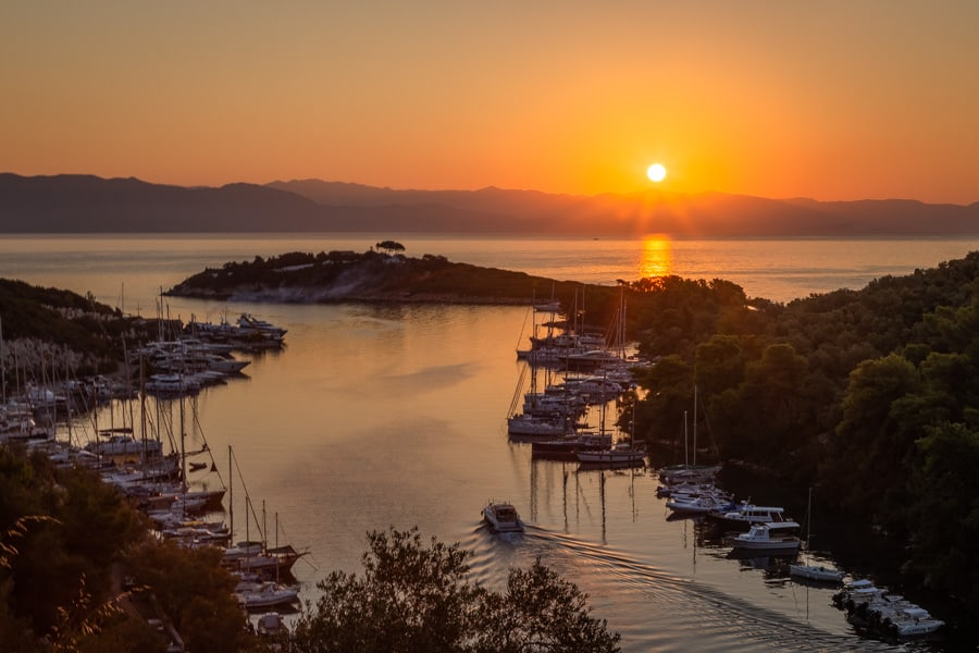 Photo of sunrise in Gaios on the Greek Island of Paxos taken by Rick McEvoy for the travel website Paxos Travel Guide