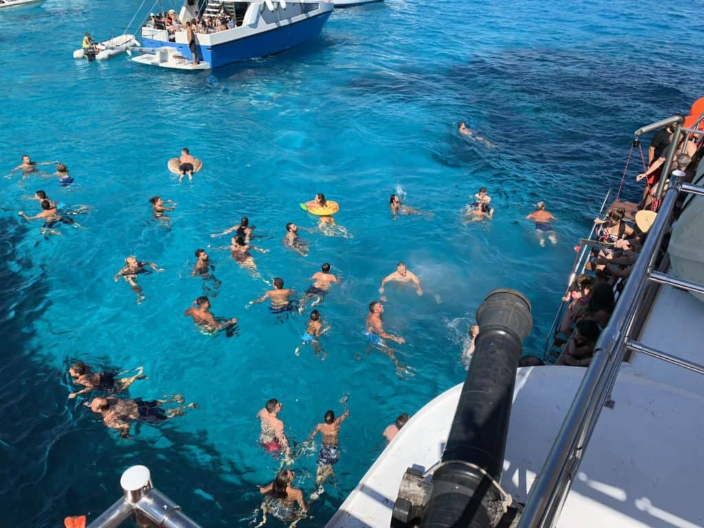 Swimmers in the sea, Antipaxos Greece