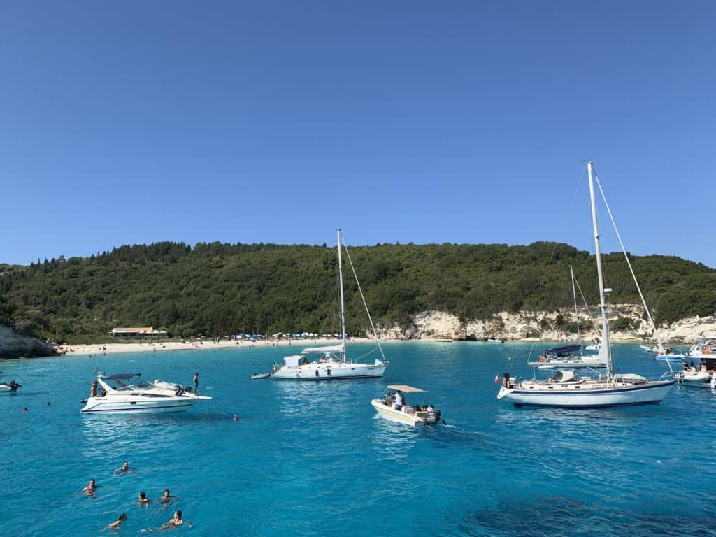 Voutoumi Beach on Antipaxos viewed from the Captain Hook 2