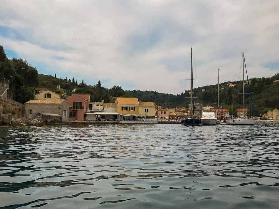View of Loggos on the Greek Island of Paxos from a boat