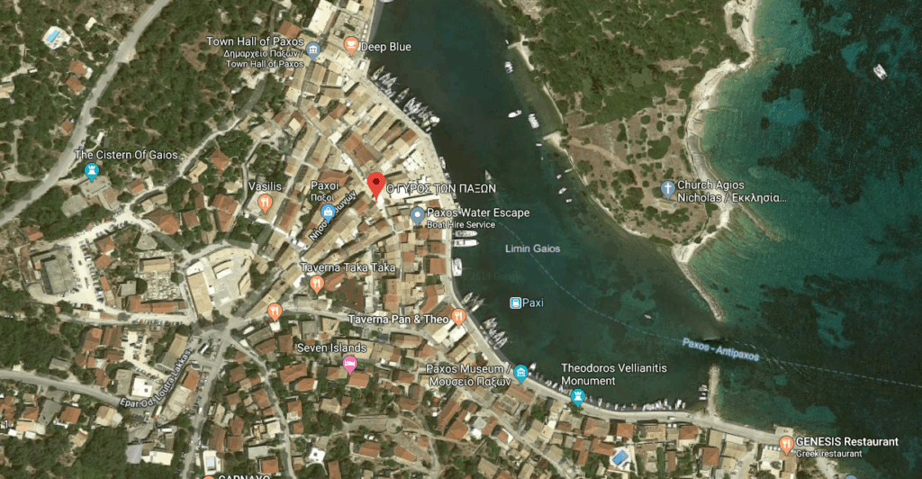 This is where the o Gyros Ton Paxon Grill House is in Gaios Paxos